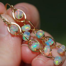 On the Edge Earrings – Ethiopian Opal Dangle Earrings, Ethiopian Opal Earrings in Gold