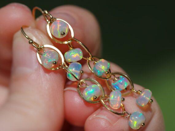 Ethiopian Opal Dangle Earrings, Ethiopian Opal Earrings in Gold