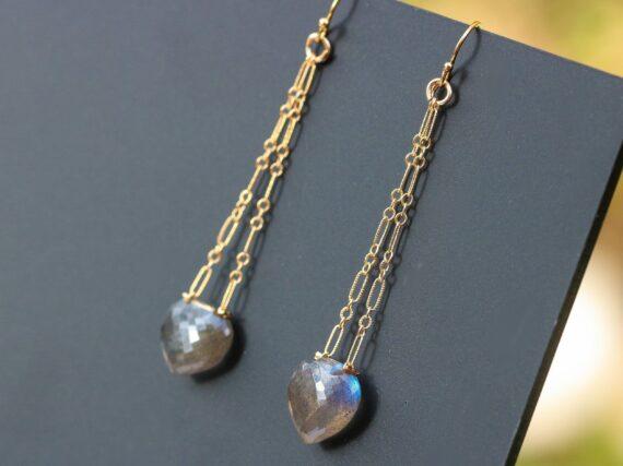 Long Labradorite Earrings in Gold Filled, Gemstone Dangle Earrings with Gray Gemstone