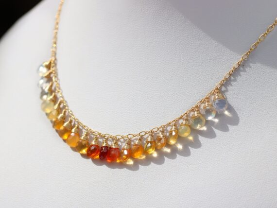 Mexican Fire Opal Orange Gemstone Ombre Necklace in Gold Filled