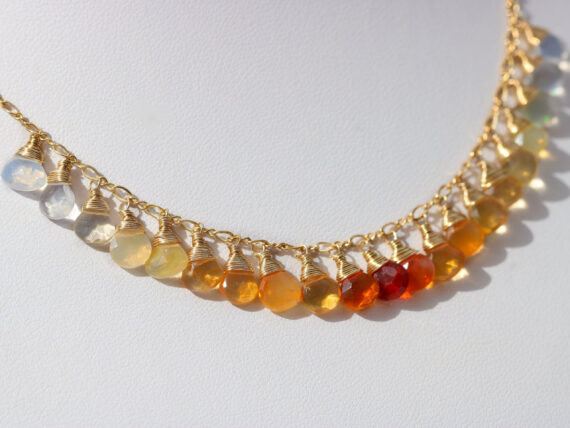 Solid Gold 14K Mexican Fire Opal Orange Gemstone Ombre Necklace