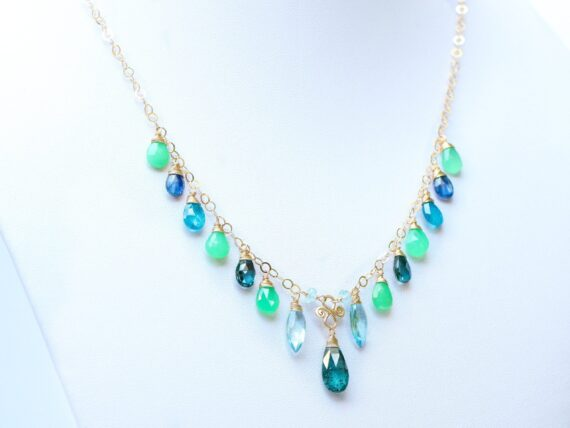Moss Kyanite with Blue Topaz, Chrysoprase and Kyanite Gold Filled Drop Necklace