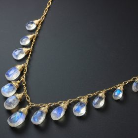 The Symphony Necklace – Rainbow Moonstone Necklace, Gold Filled Drop Necklace, Statement Necklace