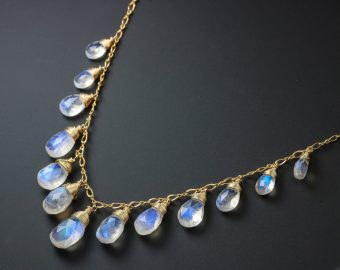 Rainbow Moonstone Necklace, Gold Filled Drop Necklace, Statement Necklace