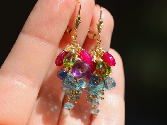 Semi Precious Gemstone Earrings in Gold Filled, Short Cluster Earrings