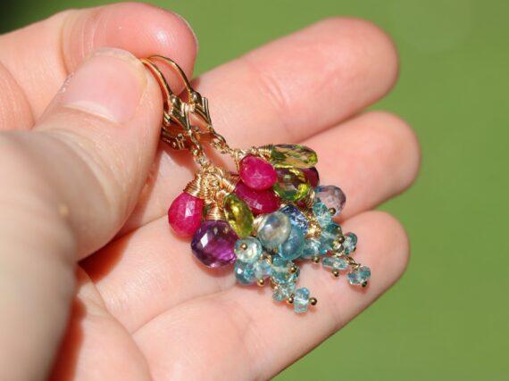 Solid Gold 14K Semi Precious Gemstone Earrings, Short Cluster Earrings