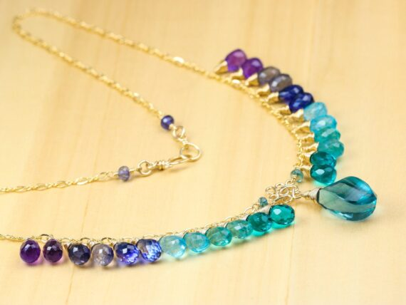 Teal Blue Fluorite Semi Precious Gemstone Necklace, Multi Gemstone Statement Necklace