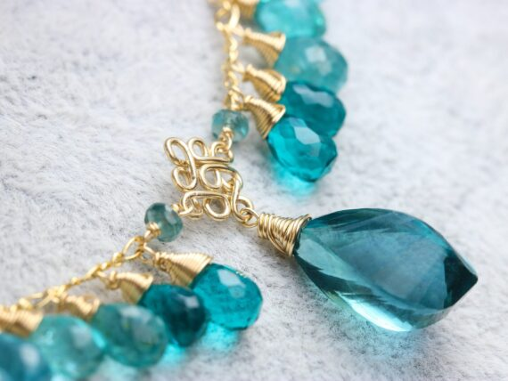 Solid Gold 14K Teal Blue Fluorite Semi Precious Gemstone Necklace, Multi Gemstone Statement Necklace