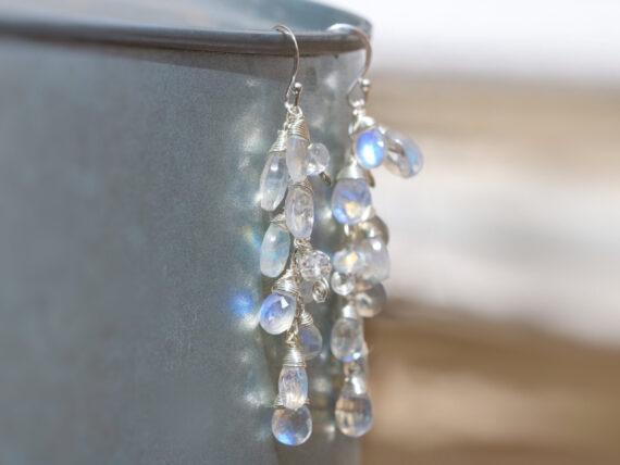 Rainbow Moonstone Earrings, Blue Fire Moonstone Dangle Earrings