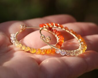 Solid Gold 14K Mexican Fire Opal Wire Wrapped Gemstone Hoop Earrings