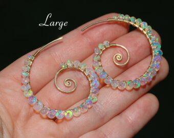 Solid Gold 14K Ethiopian Opal Wire Wrapped Spiral Hoop Earrings, Genuine Welo Opal Earrings
