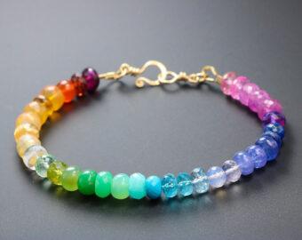 Rainbow Gemstone Bracelet with Precious Stones, Colorful Multi Gemstone Bracelet