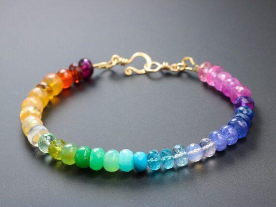 Solid Gold 14K Rainbow Gemstone Bracelet with Precious Stones, Colorful Multi Gemstone Bracelet