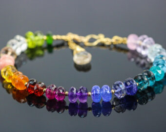 Solid Gold 14K Rainbow Precious Gemstone Bracelet, Chakra Gemstone Bracelet