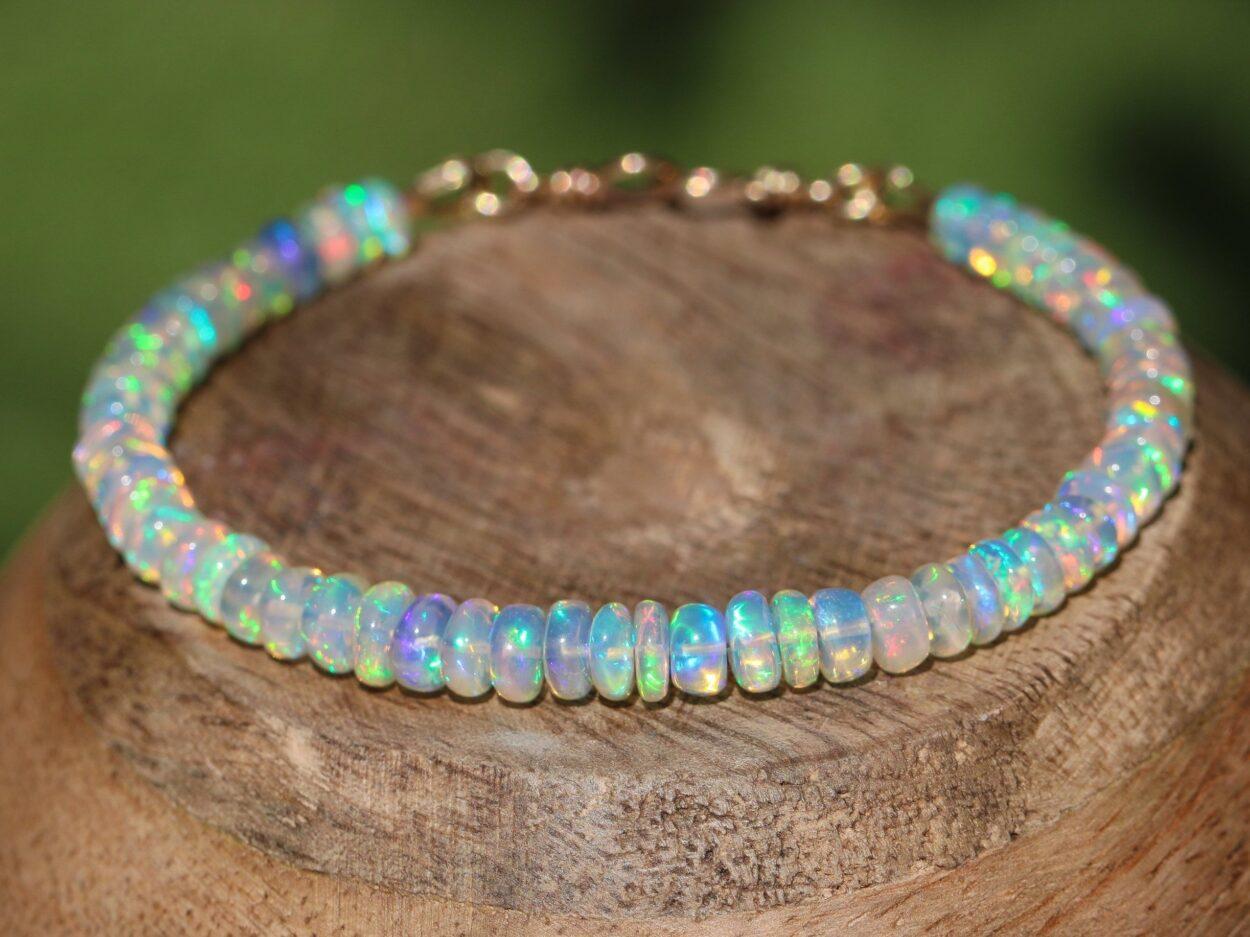 Solid Gold 14K Welo Opal Bracelet, Ethiopian Opal Bracelet - Valltasy