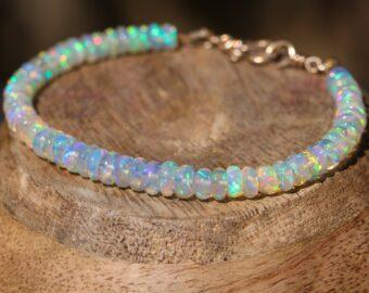 Solid Gold 14K Welo Opal Bracelet, Ethiopian Opal Bracelet
