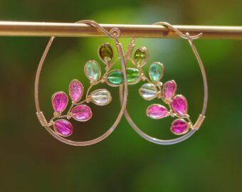 Tourmaline Hoop Earrings, Tourmaline Vines Wire Wrapped in Gold Filled