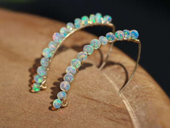 Solid Gold 14K Ethiopian Opal Threader Open Hoop Earrings