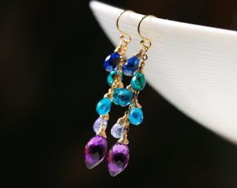 Solid Gold 14K Multi Gemstone Colorful Earrings Wire Wrapped
