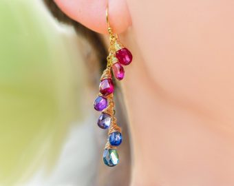 Solid Gold 14K Multi Gemstone Colorful Rainbow Earrings Wire Wrapped