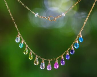 Solid Gold 14K Multi Gemstone Colorful Rainbow Necklace