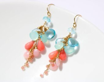 Solid Gold 14K Pink Coral with Pink Opal and Blue Topaz Dangle Earrings
