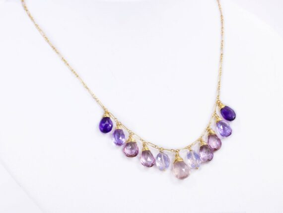 Solid Gold 14K Pink Purple Gemstone Necklace with Rose Quartz, Pink Topaz and Amethyst