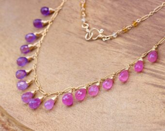 Solid Gold 14K Pink Sapphire and Purple Amethyst Drop Necklace, Dainty Gemstone Necklace