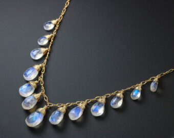 Solid Gold 14K Rainbow Moonstone Necklace, Drop Necklace, Statement Necklace
