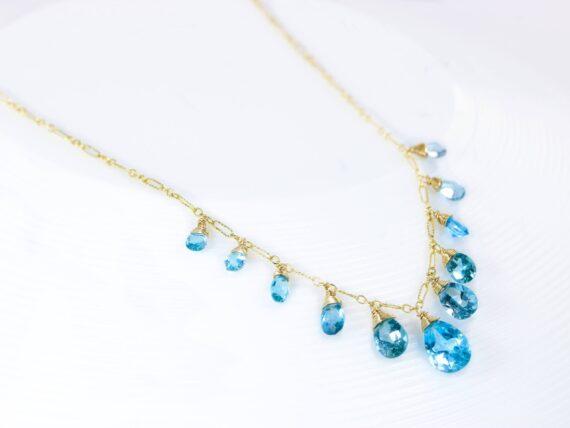 Solid Gold 14K Swiss Blue Topaz Statement Bib Necklace