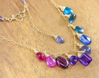 Semi Precious Gemstone Necklace, Pink Purple Drop Necklace