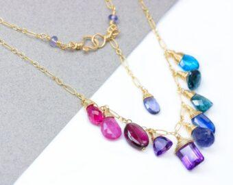 Solid Gold 14K Semi Precious Gemstone Necklace, Pink Purple Drop Necklace