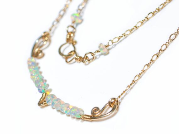 Ethiopian Opal Gemstone Bar Necklace Wire Wrapped in Gold Filled