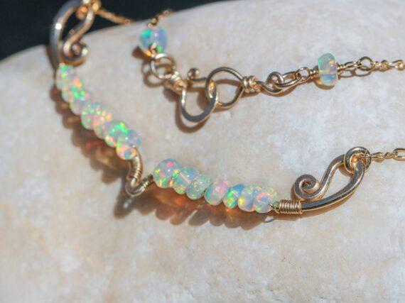 Solid Gold 14K Ethiopian Opal Gemstone Bar Necklace