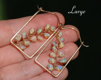 Ethiopian Opal Rectangle Hoop Earrings, Welo Opal Modern Hoops