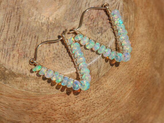 Ethiopian Opal Wire Wrapped Hoop Earrings, Gemstone Welo Opal Triangle Earrings