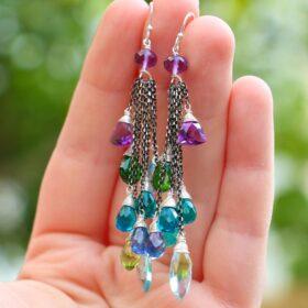 The Wandering Star Earrings – Long Tassel Earrings with Multi Gemstone Precious Stones, Mixed Metal Earrings