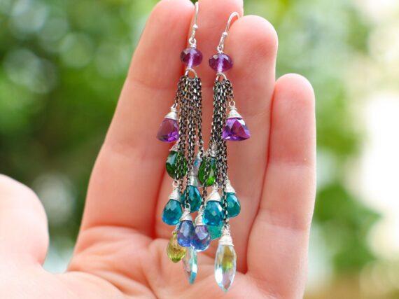 Long Tassel Earrings with Multi Gemstone Precious Stones, Mixed Metal Earrings