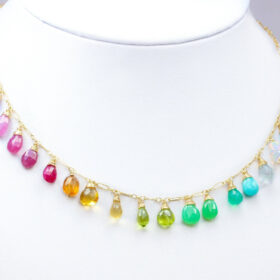 The Rainbow Day Necklace – Rainbow Multi Gemstone Necklace in Gold Filled, Precious Drop Necklace