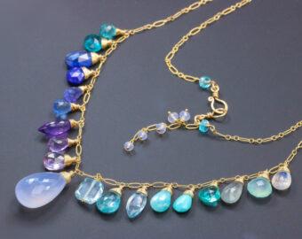Solid Gold 14K Aqua Blue Purple Multi Gemstone Necklace, Precious Drop Necklace