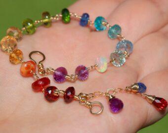 Solid Gold 14K Rainbow Precious Gemstone Wire Wrapped Bracelet