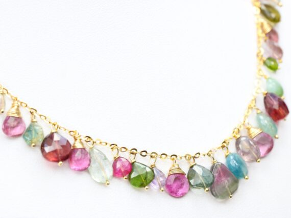 Watermelon Tourmaline and Blue Tourmaline Necklace in Gold Filled, One of a Kind