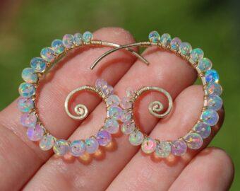 Ethiopian Opal Wire Wrapped Spiral Hoop Earrings, Genuine Welo Opal Earrings