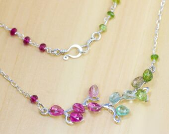 Pink Tourmaline and Teal Blue Tourmaline Silver Bar Necklace, Unique Wire Wrapped Tourmaline Branch Tree Bar Necklace