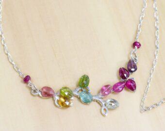 Rainbow Tourmaline Silver Bar Necklace, Unique Wire Wrapped Tourmaline Branch Tree Bar Necklace
