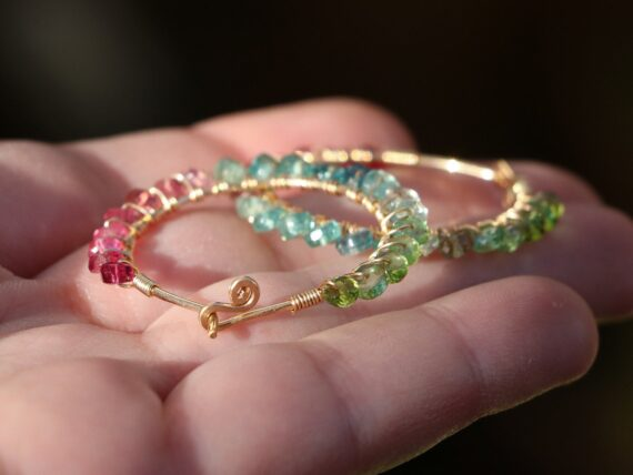Solid Gold 14K Pink Green and Blue Tourmaline Earrings Wire Wrapped Gemstone Hoop Earrings