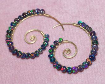 Black Opal Wire Wrapped Spiral Hoop Earrings, Genuine Opal Earrings