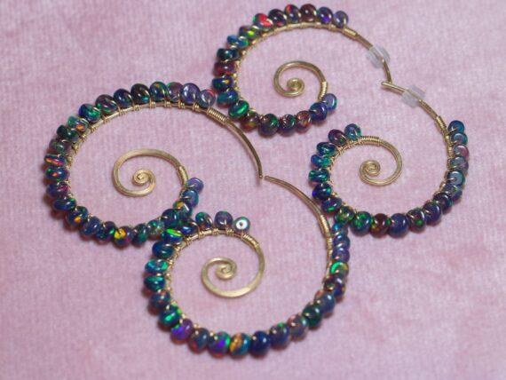Solid Gold 14K Black Opal Wire Wrapped Spiral Hoop Earrings, Genuine Opal Earrings