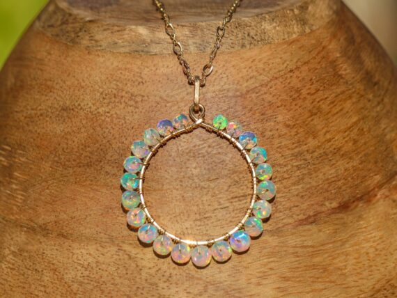 Ethiopian Opal Wire Wrapped Gemstone Hoop Pendant in Gold Filled