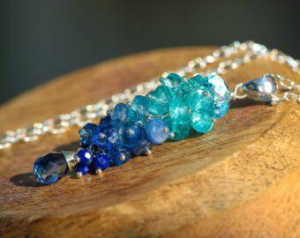 Kyanite and Apatite Blue Gemstone Pendant in Sterling Silver